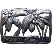 Gorgeous Sterling Palm Trees & Boat Vintage Brooch