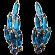 Fabulous CAPRI BLUE Rhinestone Navette Vintage Clip Earrings