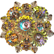 Fabulous MARGARITA CRYSTAL & Rhinestone Vintage Pin Brooch