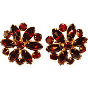 Fabulous GARNET RED Rhinestone Vintage Clip Earrings