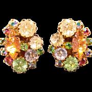 Gorgeous AUSTRIA Signed Crackle Glass & Colored Aurora Rhinestone Clip Earrings