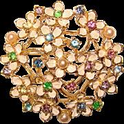 Gorgeous COLOR RHINESTONE Enamel Flower Cluster Vintage Brooch