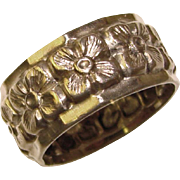 Gorgeous STERLING Wide Band Flowered Design Estate Ring