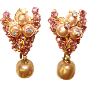 Gorgeous Wired PINK Rhinestone & Faux Pearl Vintage Clip Earrings