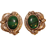 Gorgeous STERLING & MALACHITE Vintage Clip Earrings