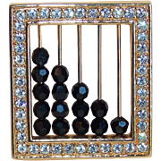 Signed SWAROVSKI Rhinestone & Black Glass Abacus Brooch - Swan Mark Logo
