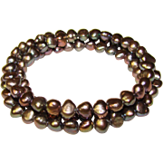 Gorgeous GRAY Colored Fresh Water Pearl Coil Bracelet
