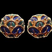 Gorgeous BOUCHER Signed BLUE & GREEN Enamel Vintage Clip Earrings