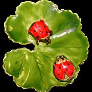 Fabulous ORIGINAL by ROBERT Signed Ladybugs on Leaf Vintage Brooch