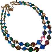 Fabulous Vintage PEACOCK BLUE & GREEN Mixed Color Crystal Beads Necklace