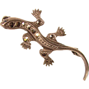 Awesome Sterling & Marcasite LIZARD Vintage Pin Brooch