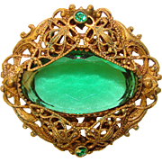 Fabulous Antique Filigree GREEN Glass Stone Brooch