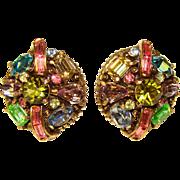 Fabulous HOLLYCRAFT Signed Rhinestone Vintage Earrings - COPR.1955