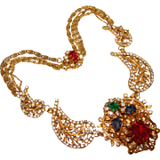 Fabulous AMOURELLE Signed MOGHUL Jeweled Rhinestone Necklace