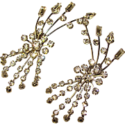 Fabulous HUGE Vintage Sparkling Rhinestone Clip Earrings