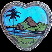 Fabulous BUTTERFLY WING Heart Vintage Brooch - Souvenir of Brazil