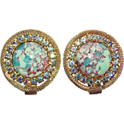 Gorgeous AQUA BLUE Glass & Aurora Rhinestone Vintage Clip Earrings