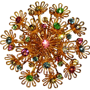 Gorgeous COLOR RHINESTONE Flower Cluster Vintage Brooch