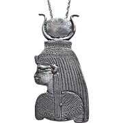 Sterling 1970s Egyptian Revival Design Vintage Pendant Necklace