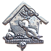 Signed Sterling Bird & Birdhouse Brooch - Mary Engelbreit ME INK
