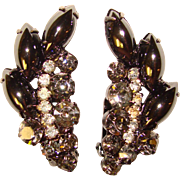 Fabulous D&E JULIANA Smoke & Hematite Glass Rhinestone Vintage Earrings