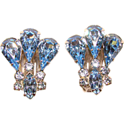 Fabulous KRAMER Blue Rhinestone Vintage Clip Earrings