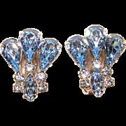 Fabulous KRAMER Blue Rhinestone Vintage Clip Earrings