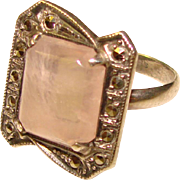 Fabulous ART DECO Sterling Rose Quartz & Marcasite Vintage Ring