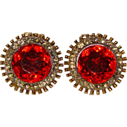 Fabulous RED GLASS Rhinestone Vintage Clip Earrings
