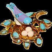 Fabulous SWOBODA Bird on Nest Vintage Brooch