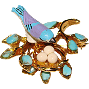 Fabulous SWOBODA Bird on Nest Vintage Brooch