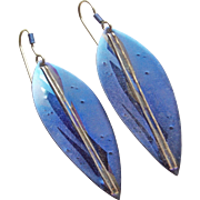 Signed HOLLY YASHI 1980's Blue Niobium Vintage Earrings - Pierced