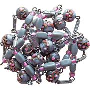 Gorgeous Art Deco Venetian Glass Wedding Cake Necklace - Gray & Pink