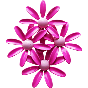 Huge 1960s Pink Enamel Flower Power Vintage Brooch
