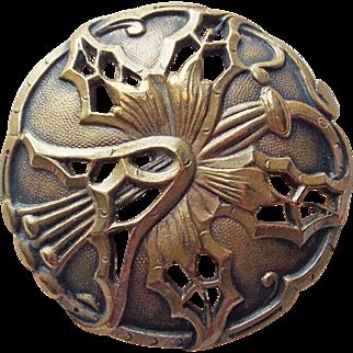 """Antique Art Nouveau Large Flower Button - Almost 1 3/8"""" Across"""