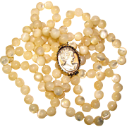 Fabulous MOTHER OF PEARL Cameo Brooch Clasp 2 Strand Beads Necklace