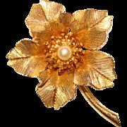 Gorgeous BOUCHER Cultured Pearl Flower Design Vintage Brooch