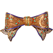 Fabulous 800 Silver ENAMEL Vintage Bow Design Brooch
