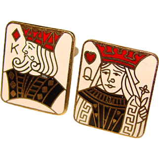 Awesome KING & QUEEN Playing Card Enamel Vintage Cufflinks