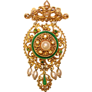 Regal Vintage FLORENZA Enamel & Rhinestone Signed Dangle Brooch