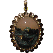 Gorgeous STERLING Moss Agate Vintage Pendant