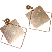 Fabulous STERLING Mid Century Kinetic Design Dangle Earrings