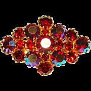 Gorgeous AUSTRIA Red Aurora Rhinestone Vintage Brooch