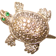 Awesome 1940's RHINESTONE TURTLE Design Vintage Brooch