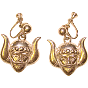Fabulous STERLING VIKING Head Design Vintage Earrings