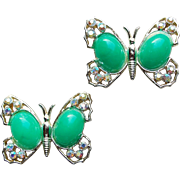 Awesome Butterflies Aurora Rhinestone & Green Plastic Scatter Pins - Butterfly