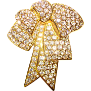 Fabulous NOLAN MILLER Rhinestone BOW Signed Estate Brooch