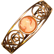 Fabulous CARVED CAMEO Signed Vintage Bangle Bracelet