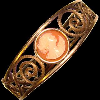 Fabulous CARVED CAMEO Signed Vintage Bangle Bracelet