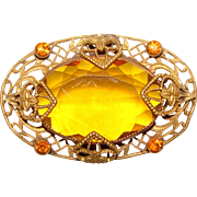 Fabulous Filigree Amber Glass Antique Brooch